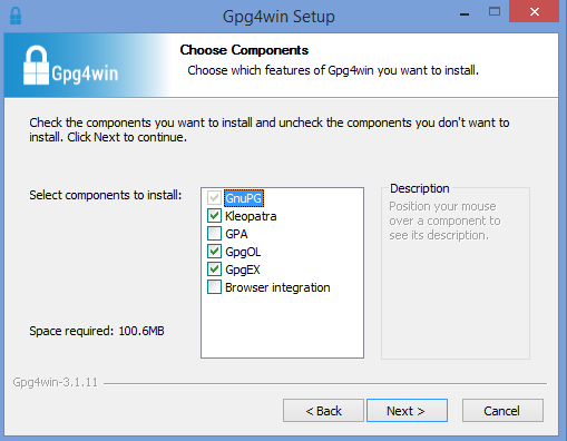 gpg4win installer components