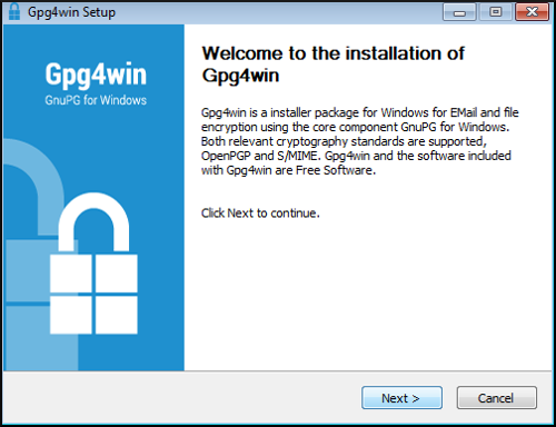 gpg4win installer welcome
