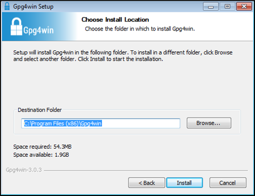 gpg4win installer location
